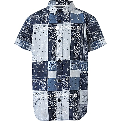 Boys blue paisley print shirt