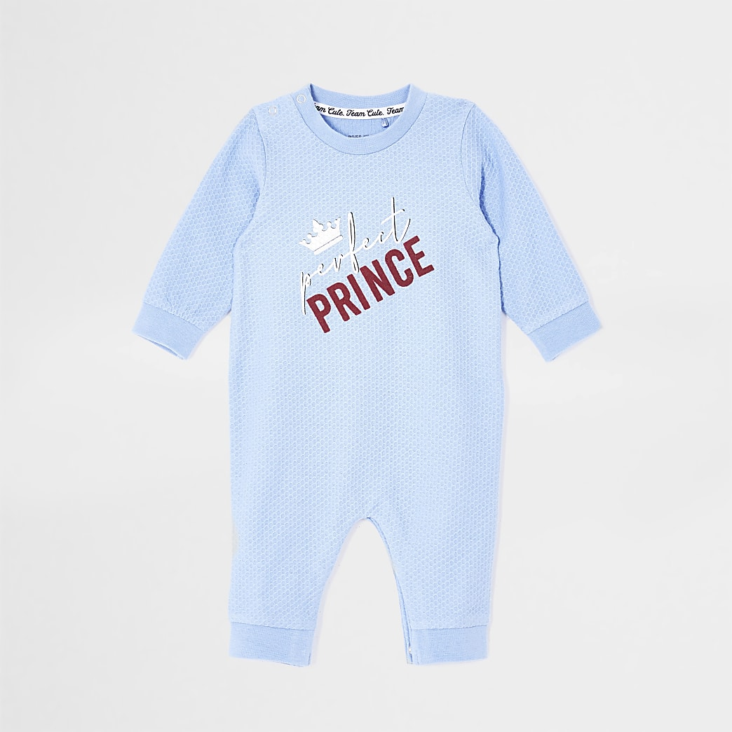 Boys blue 'Perfect prince' waffle baby grow