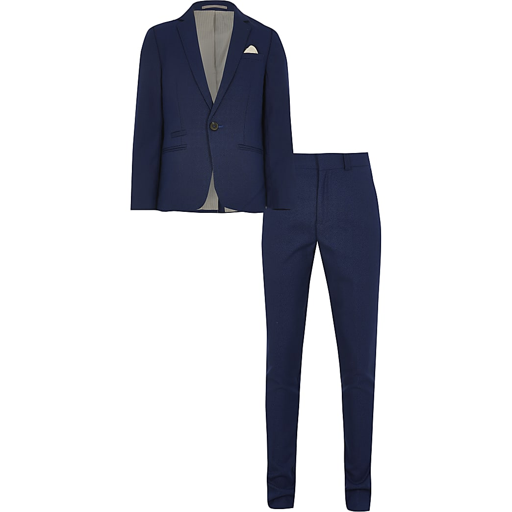 Boys blue pin dot 2 piece suit