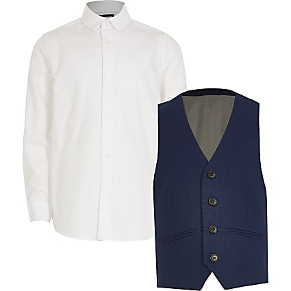 Boys blue pindot waistcoat and shirt set