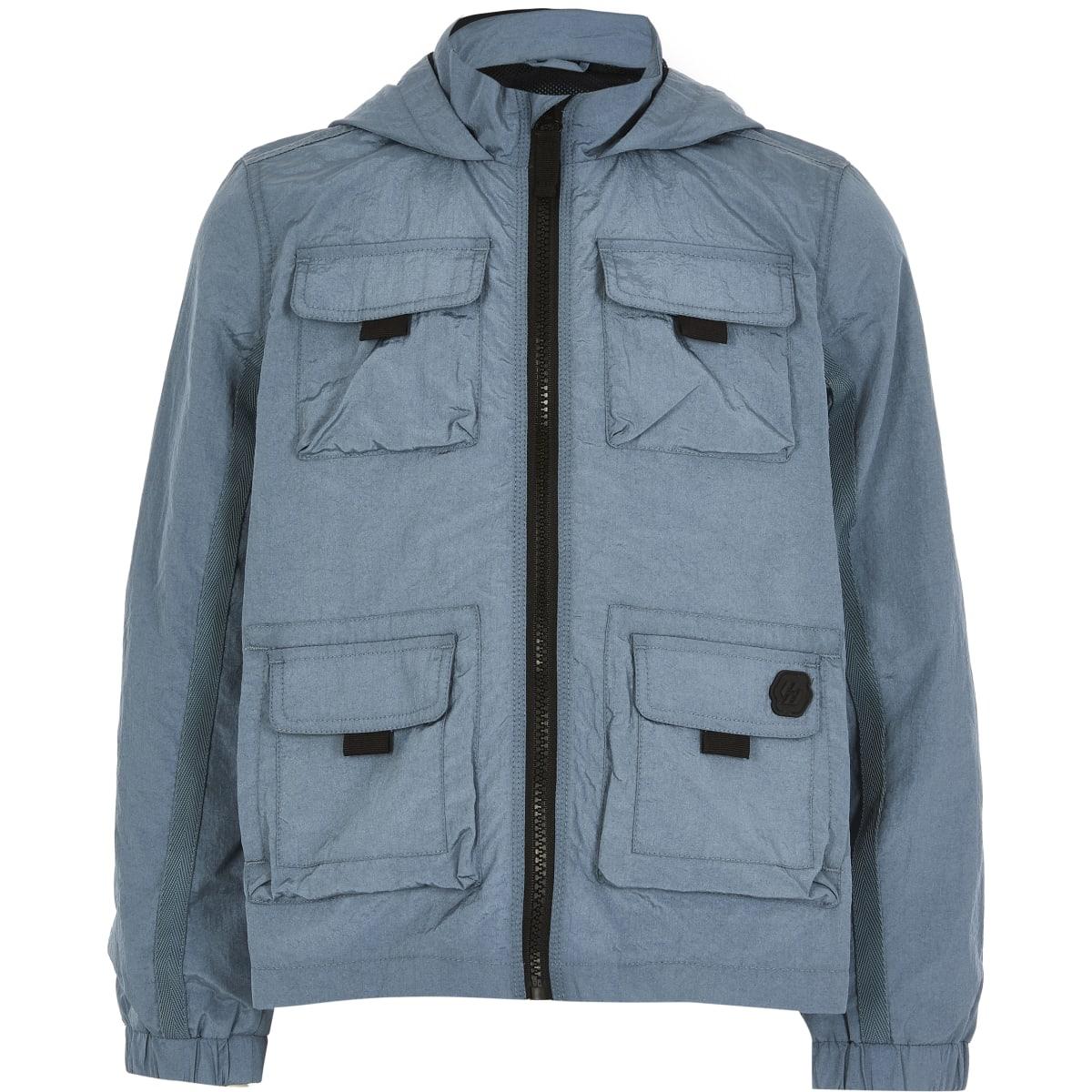 Boys blue pocket front nylon hooded jacket