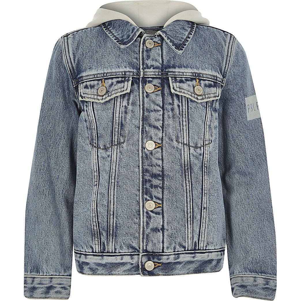 Boys Blue Prolific fleece denim jacket