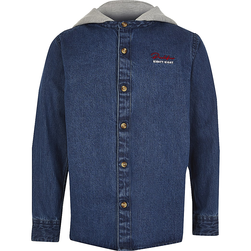 Boys blue Prolific hooded denim shirt