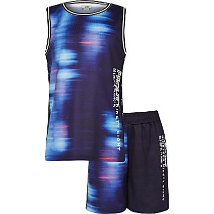 Boys blue Prolific mesh vest and shorts set
