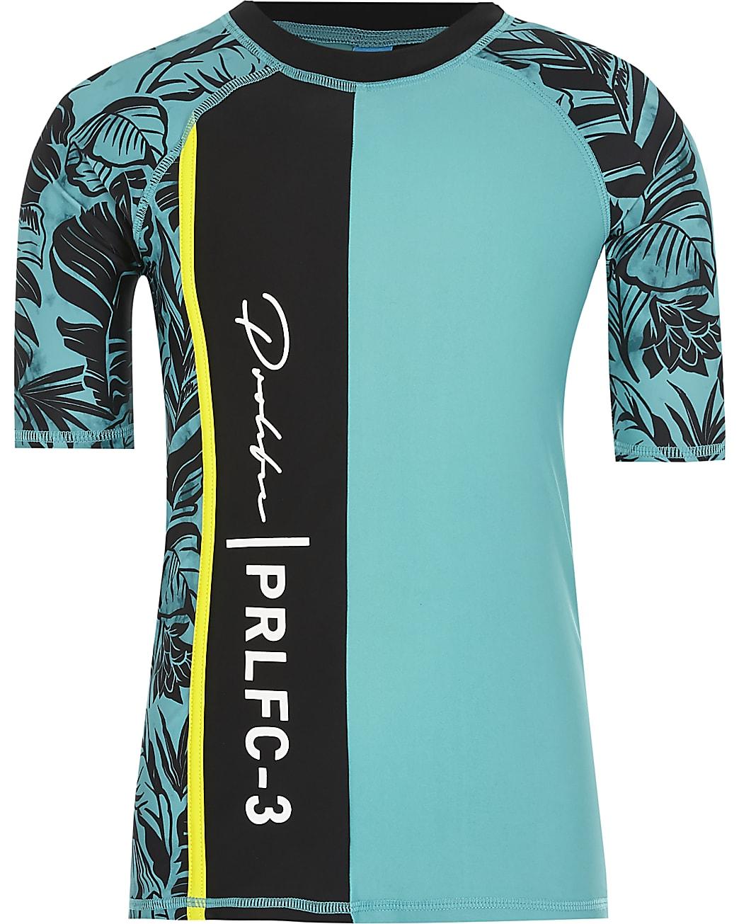 Boys blue Prolific print rash swim T-shirt