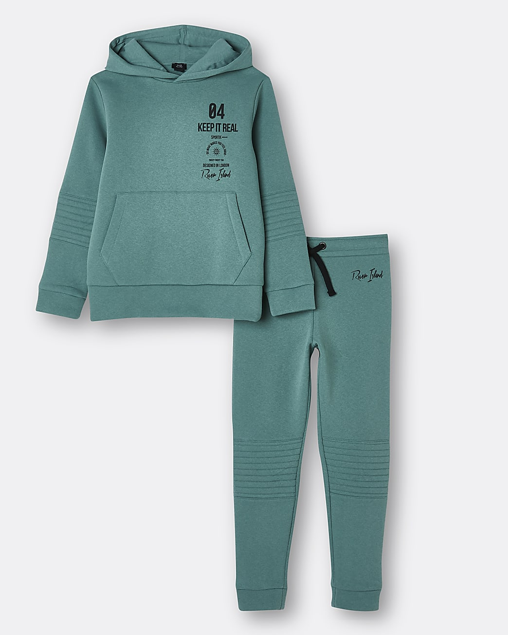 Boys blue quilted hoodie and joggers set
