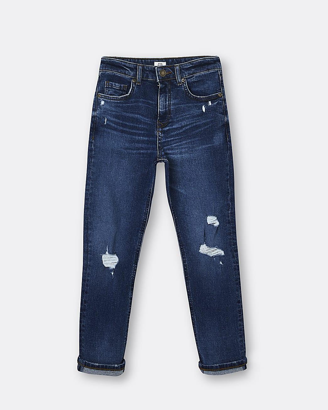 Boys blue regular rip jeans