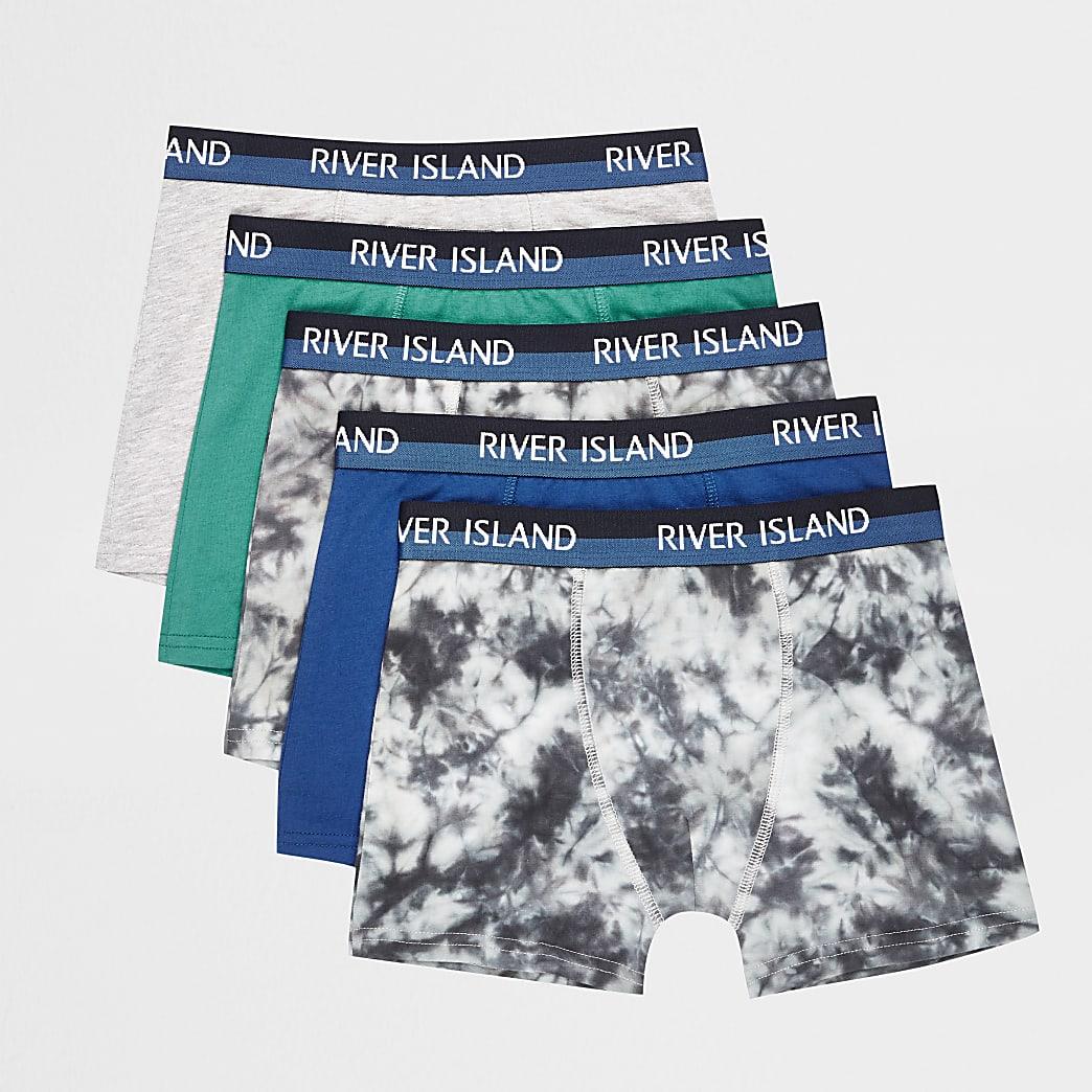 Blauwe RI boxershorts voor jongens set van 5