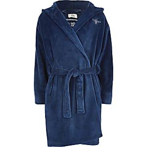 Robe de chambre bleue avec logo RI pour garçon