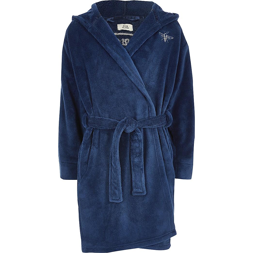 Boys blue RI logo dressing gown