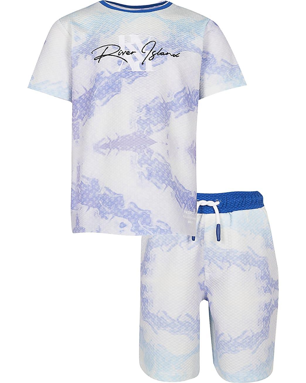 Boys blue RI marble t-shirt and shorts set