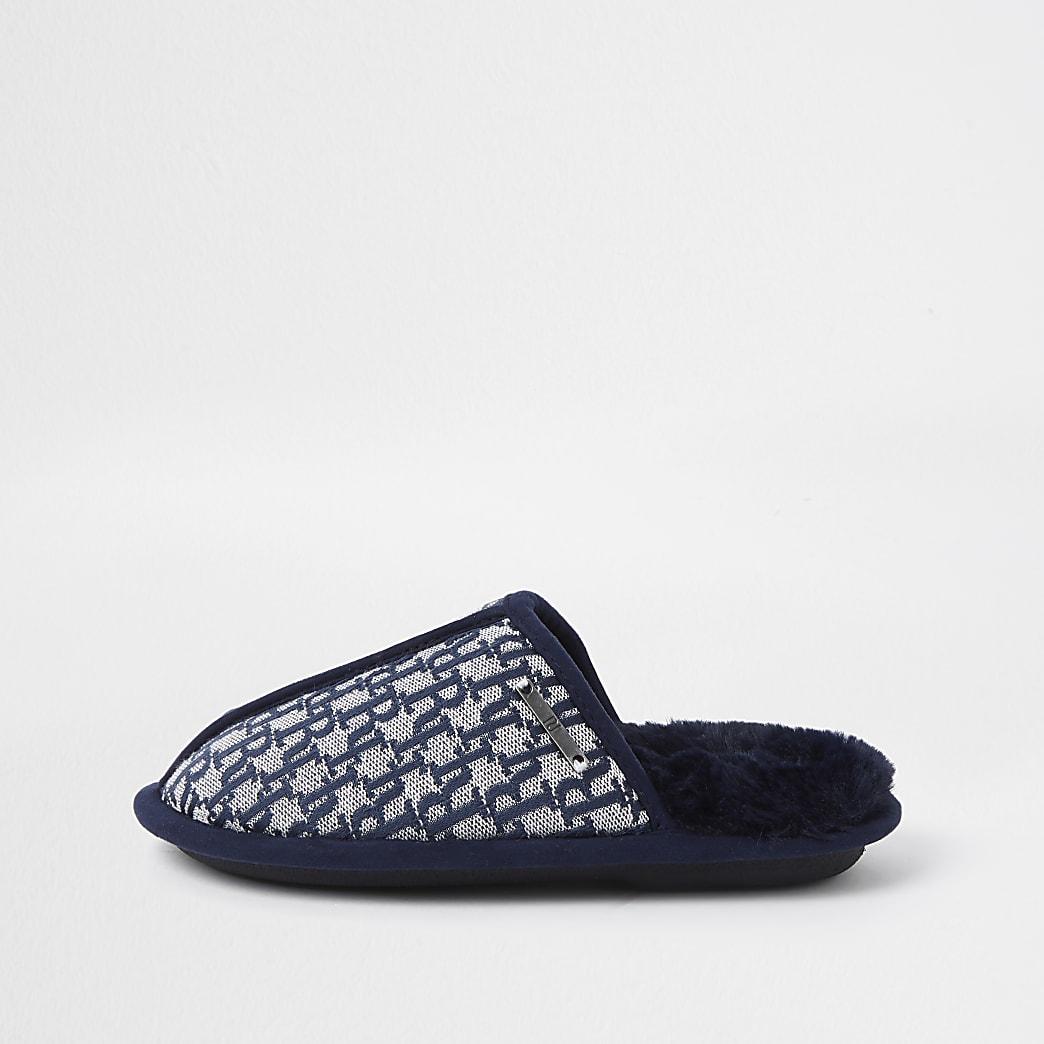 Boys blue RI monogram mule slippers