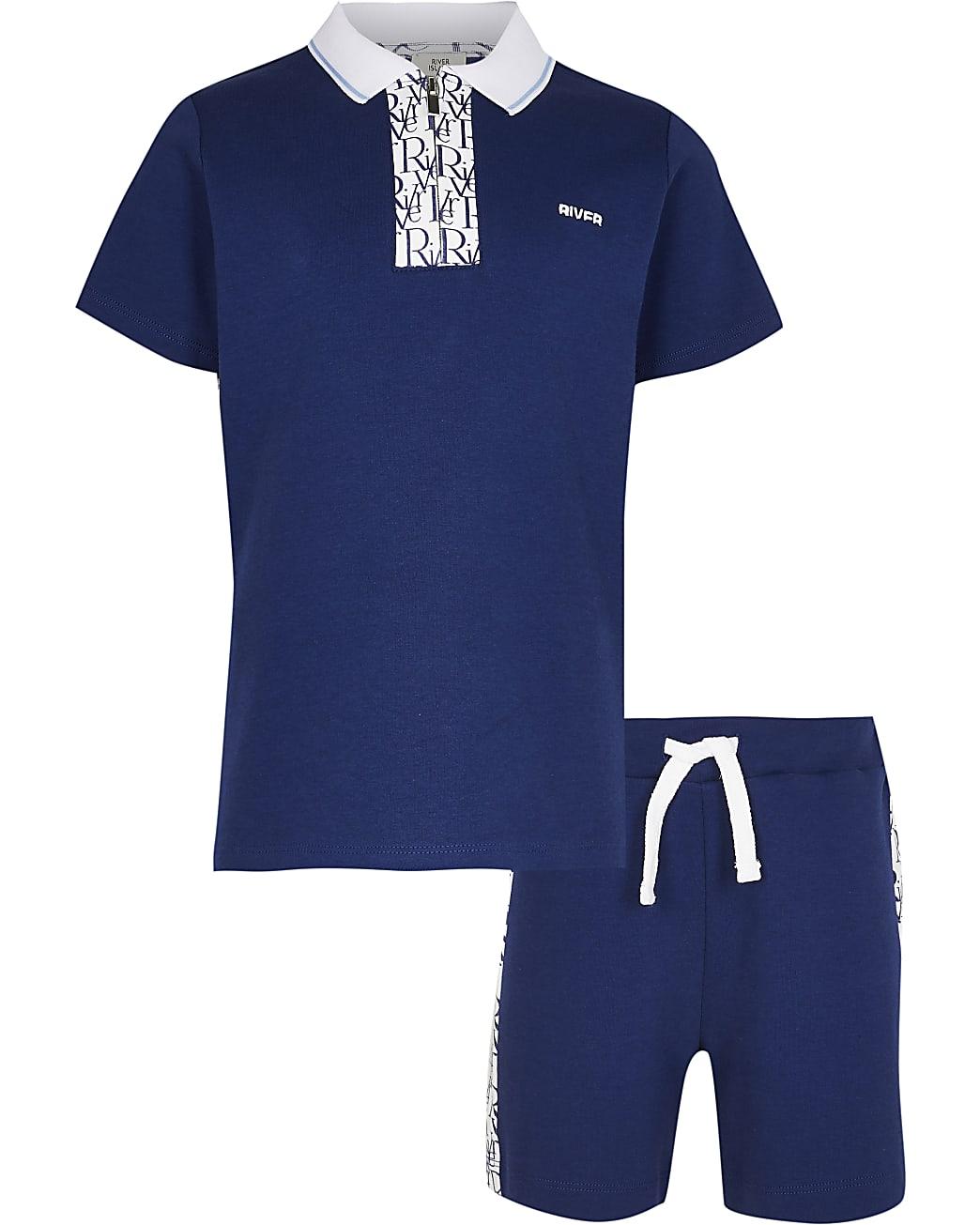 Boys blue RI monogram polo shirt outfit