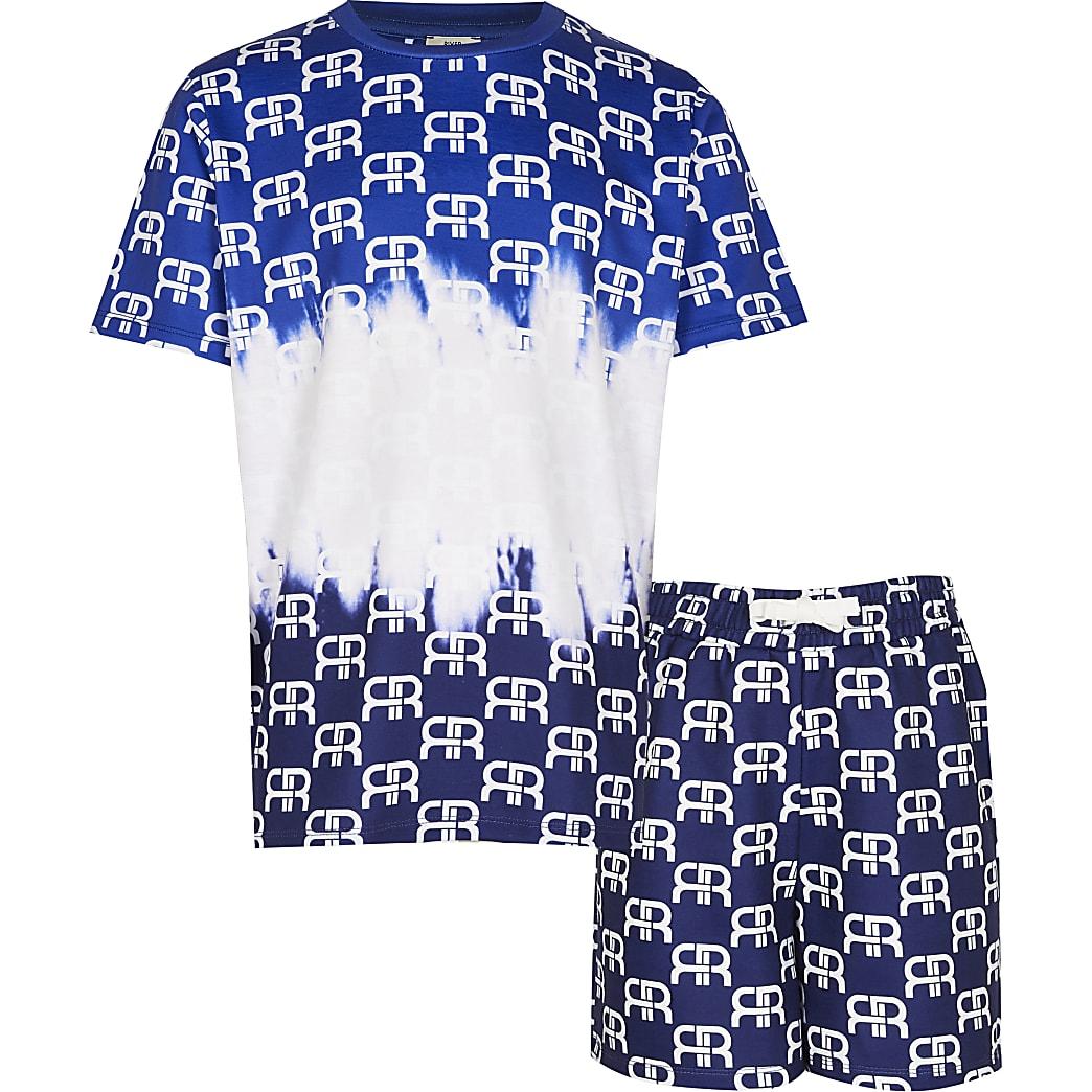 Boys blue RI monogram shorts outfit