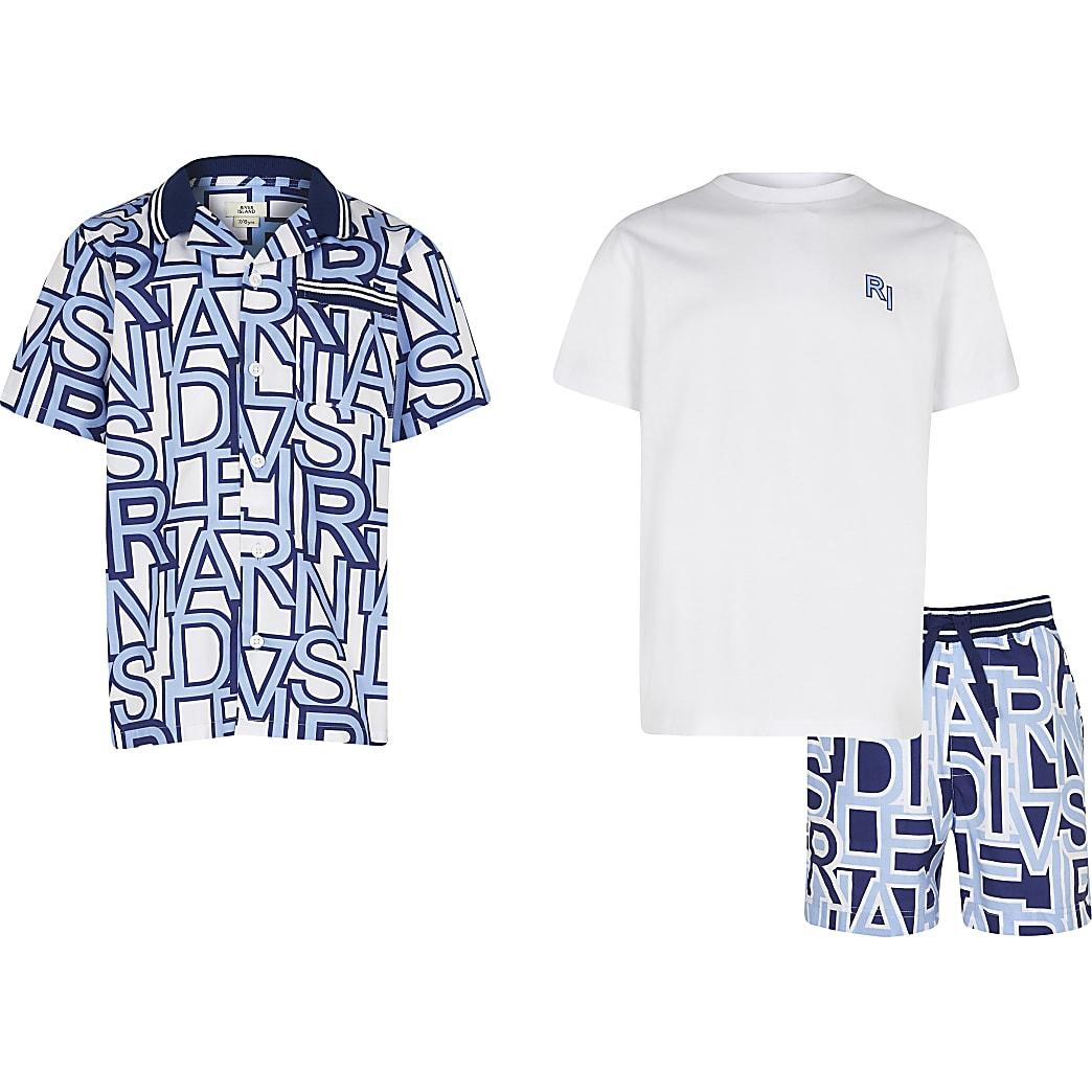 Boys blue RI print shirt 3 piece outfit
