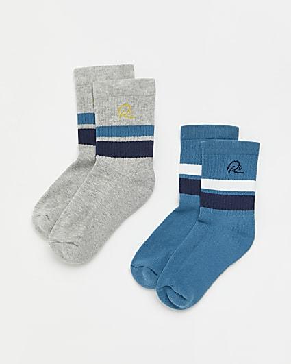 Boys blue RI stripe tube socks 2 pack