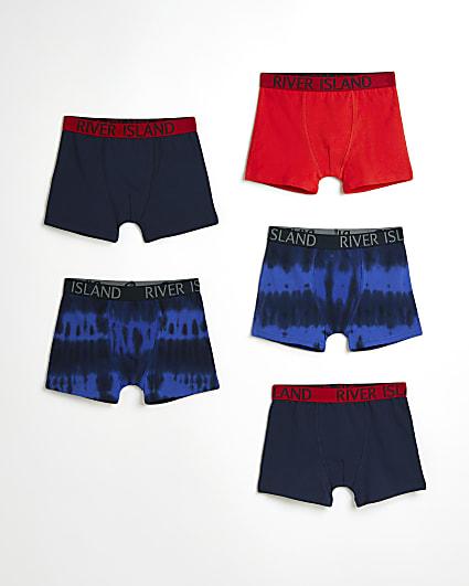 Boys blue RI tie dye boxers 5 pack