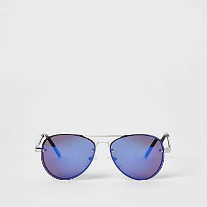Boys blue rimless aviator sunglasses