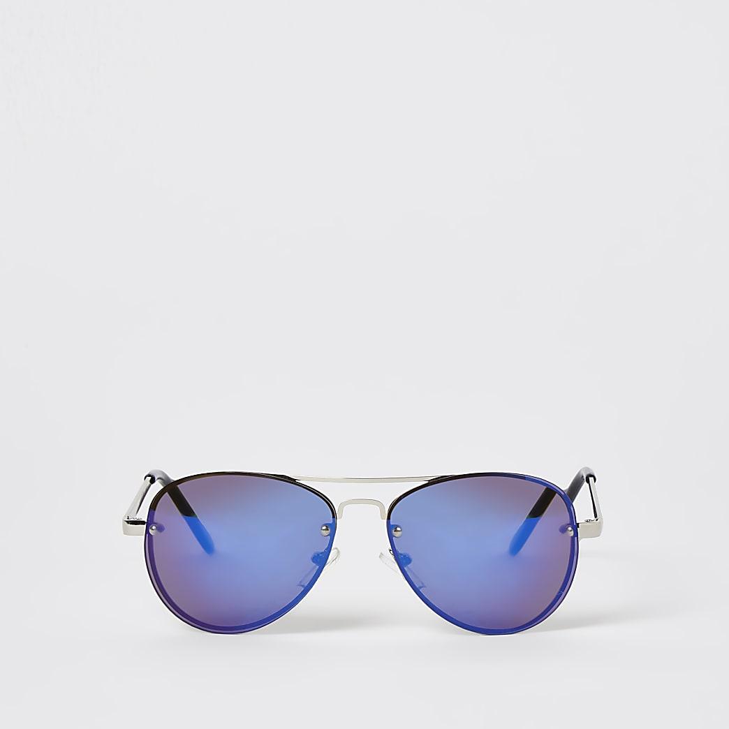Boys blue rimless aviator sunglasses