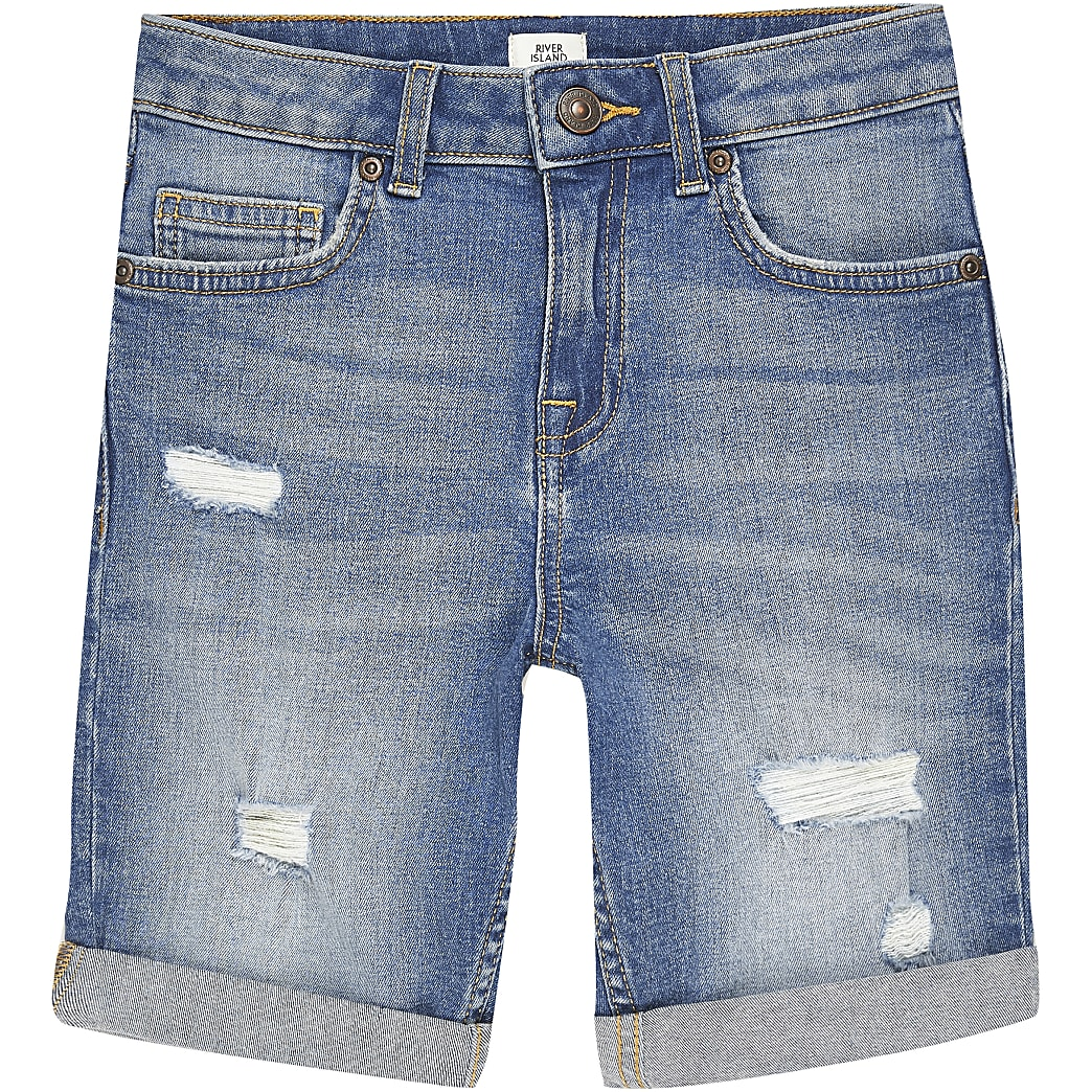 Blauwe ripped slim-fit Dylan shorts voor jongens