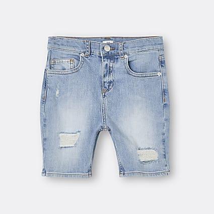 Boys blue ripped denim shorts