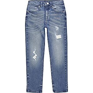 Jake - Blauwe ripped regular fit jeans voor jongens