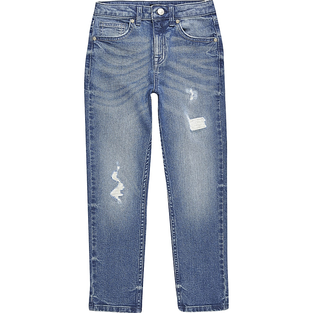 Boys blue ripped Jake regular fit jeans