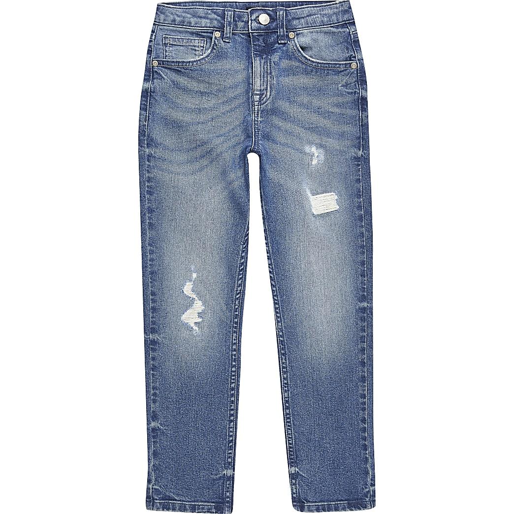 Jake - Blauwe ripped regular fit jeans voor jongens