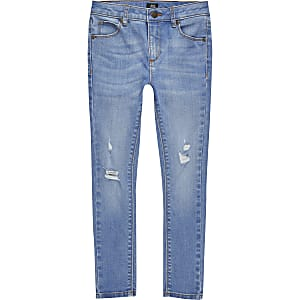 Boys blue ripped Ollie spray on skinny jeans