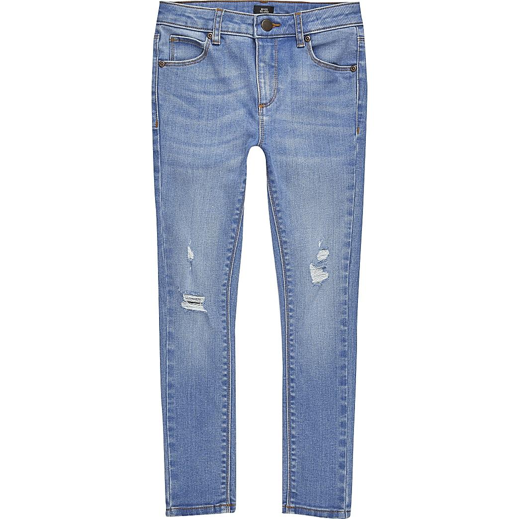 Ollie - Blauwe ripped spray-on skinny jeans voor jongens