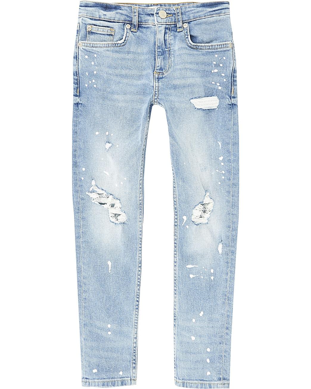 Boys blue ripped paint splat skinny jeans