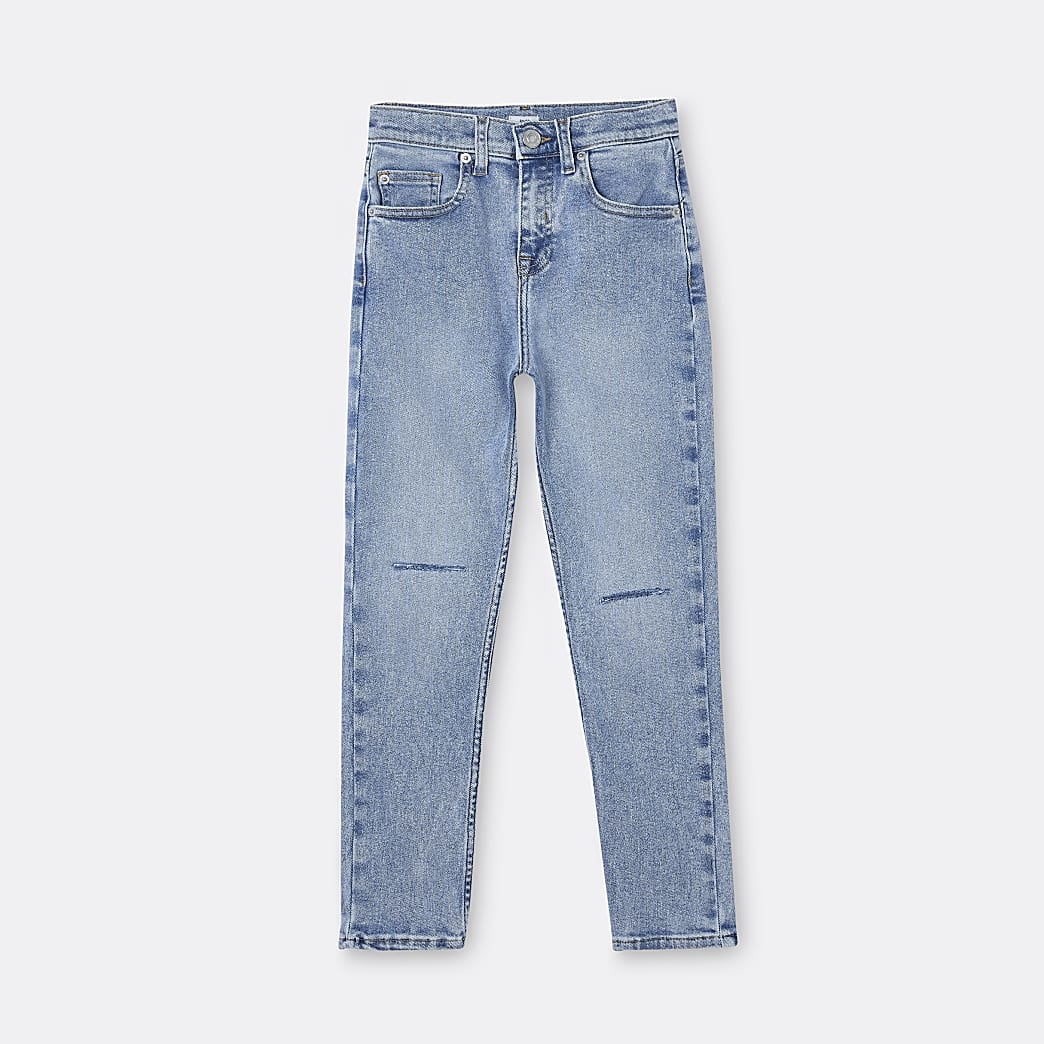 Boys blue ripped regular fit jeans