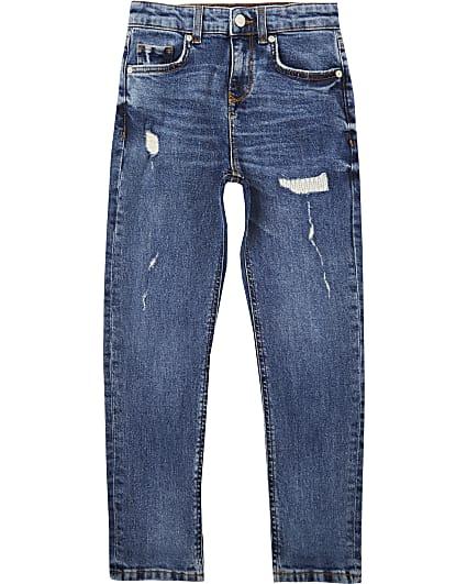 Boys blue ripped regular slim fit jeans
