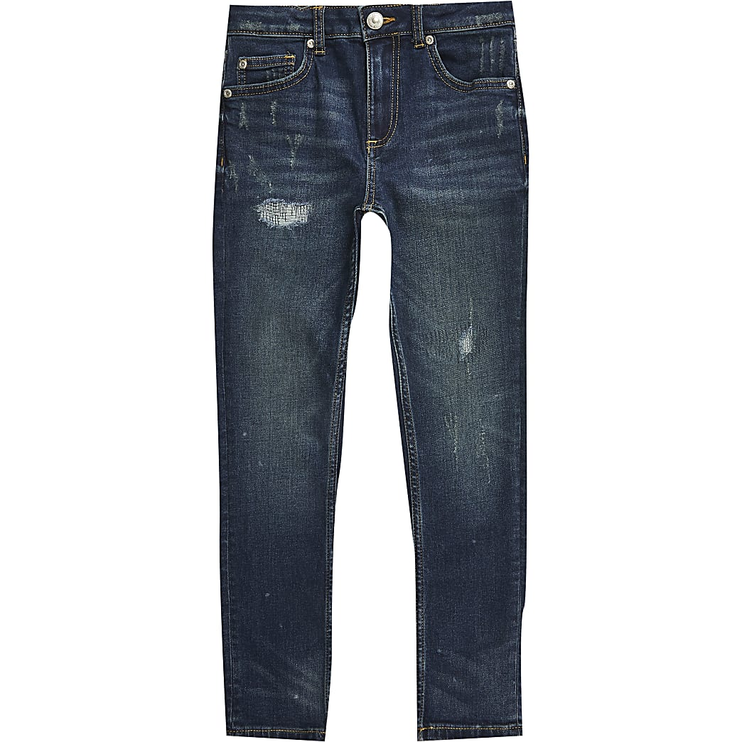 Boys blue ripped regular slim jean