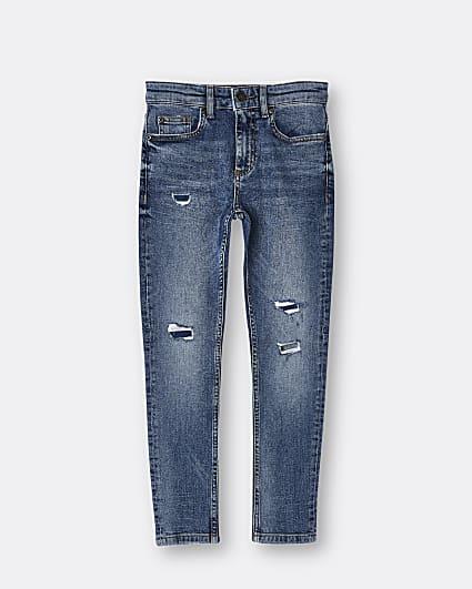 Boys blue ripped skinny jeans
