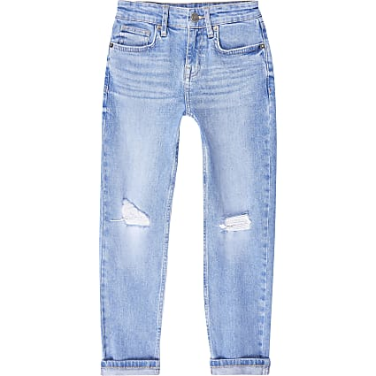 Boys blue ripped slim fit jeans