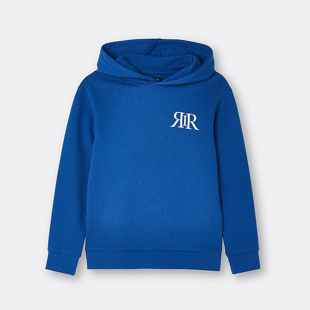 Boys blue RIR printed hoodie