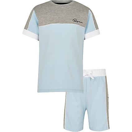 Boys blue River colour block t-shirt outfit