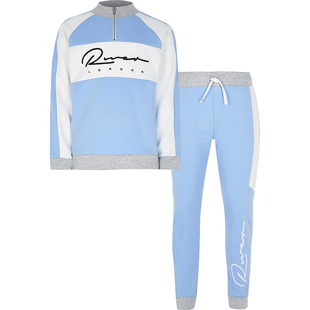 Boys' blue river print funnel neck outfit