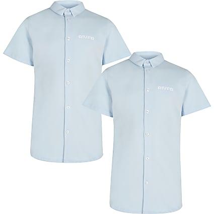 Boys blue River short sleeve shirts 2 pack