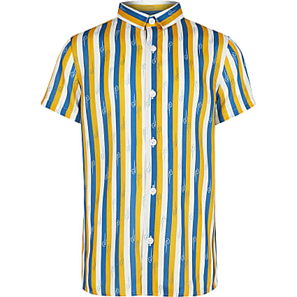 Boys blue River stripe shirt