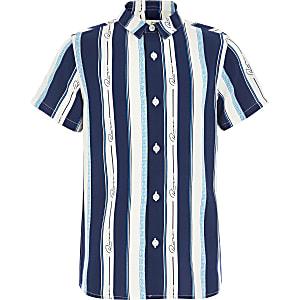 Boys blue 'River' stripe short sleeve shirt