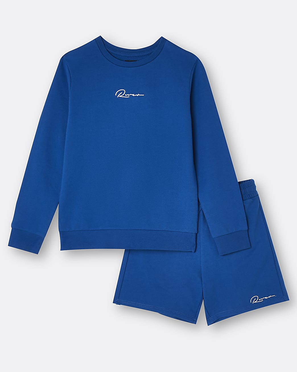 Boys blue River sweatshirt and shorts outfit