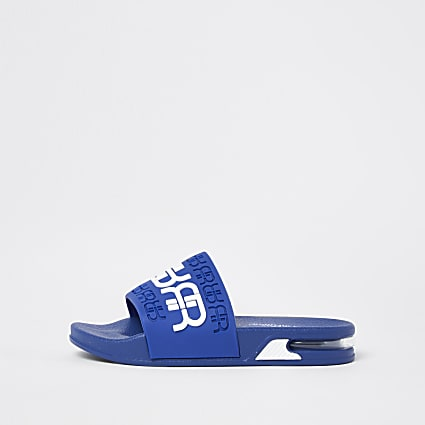Boys blue RR embossed bubble sole sliders