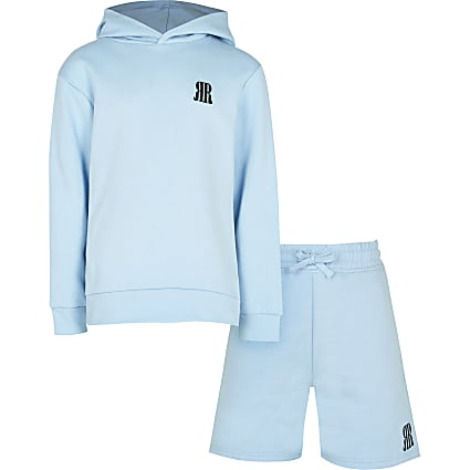 Boys blue RR hoodie and shorts set