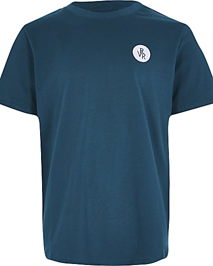 Boys blue RVR chest print t-shirt