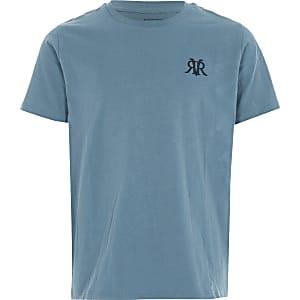 Blue RVR geborduurd T-shirt voor jongens