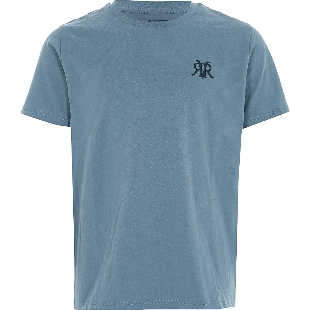 Blaues T-Shirt mit RVR-Stickerei für Jungen