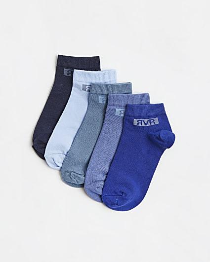Boys blue RVR trainer socks 5 pack