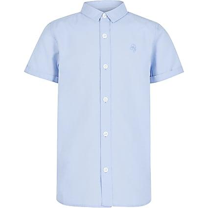 Boys blue short sleeve twill shirt